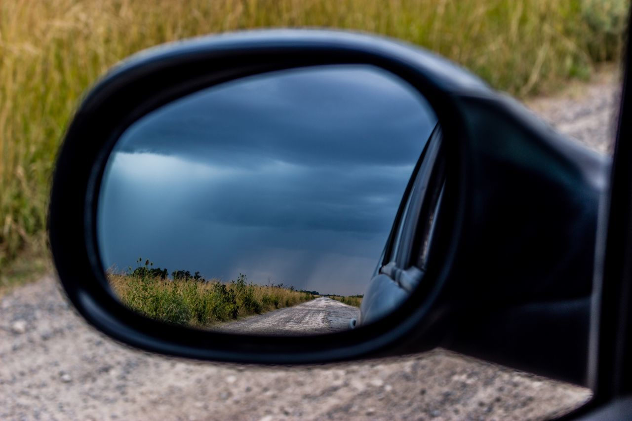 Storm Clouds Stormy Weather Mirror Picture Driving Around