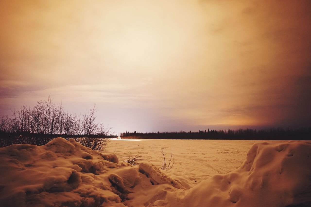 Hunting for the lights // Tranquil Scene Nature Tranquility Beauty In Nature Scenics Sunset Sky Landscape Winter No People Cold Temperature Snow Outdoors Tree Scenic View Day