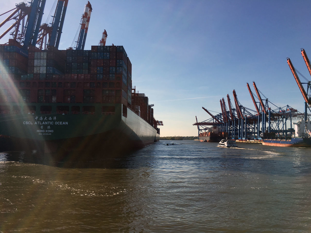 Commercial Dock Container Container Port Container Ship Crane Crane - Construction Machinery Development Dock Freight Transportation Hamburg Hamburger Hafen Harbor Industry Mode Of Transport Nautical Vessel Outdoors Reflection Schiff Sea Ship Shipping  Transportation Tugboat Water Waterfront