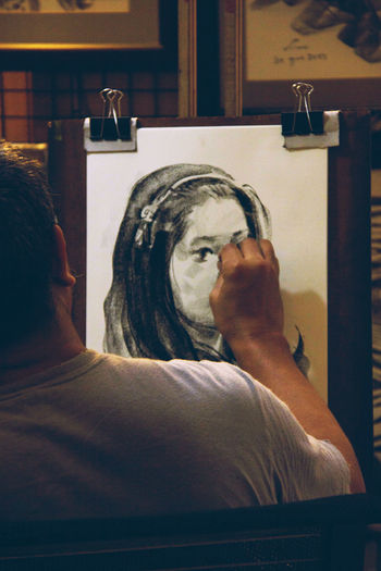 The Man Artist Drawing Woman Portrait Artist Studio Woman Art\ Artboard Attractive Close Up Day Design Drawing Female Human Hand Indoors  Lifestyles Men Picture Portrait Real People Skatch Women