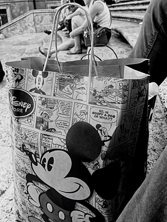 Disneystore Disney Mickey Mouse In Rome Italy Mickey Roma Stairs Walking Around Black And White Shopping ♡