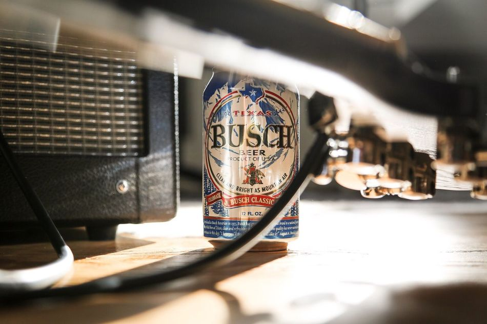 No People Indoors  Day Close-up Buschbeer Beer Guitar Amplifier Wood