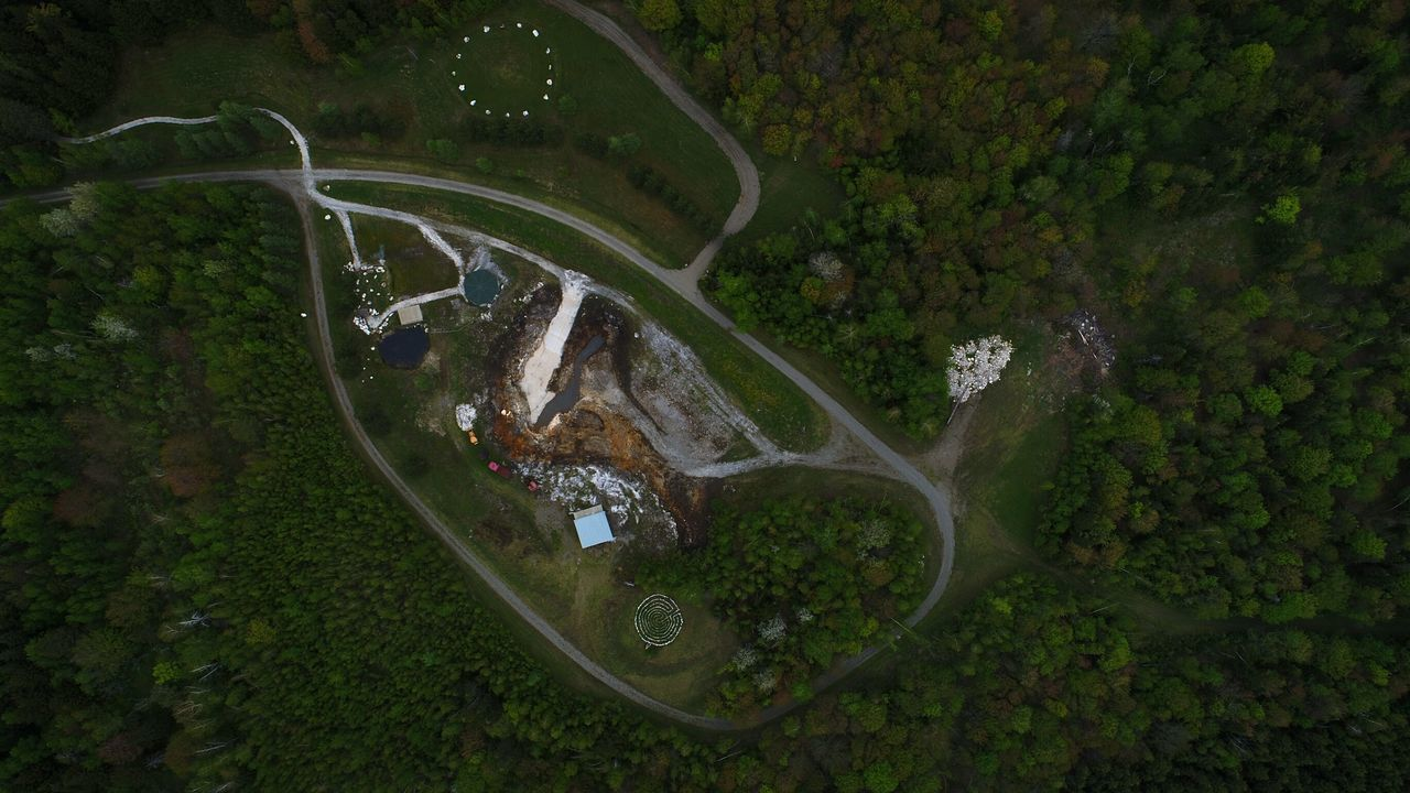 Spring 2017 Aerial View Outdoors High Angle View No People Tree Day Quartz Stone Quartz Circle Crystal Mine