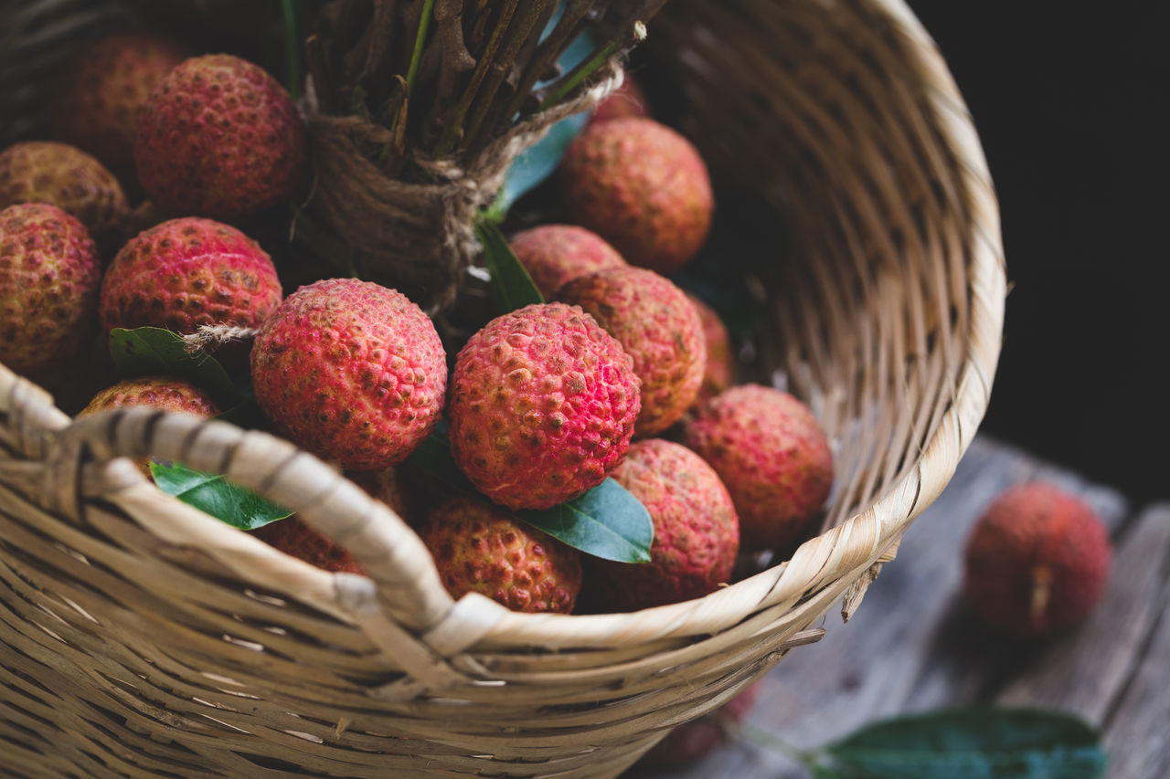 Swwet Lychees ASIA Background Bamboo Burlap Close-up Dark Food Food And Drink Freshness Fruit Healthy Eating Lychee Nutrition Plant Raw Food Red Sweet Tasty Trai Vai Tropical Vietnam Vitamin