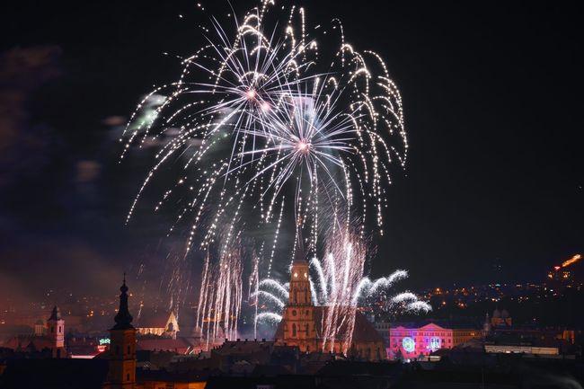 Firework NewYear 2016 Happy New Year 2016 Klausenburg Cluj-Napoca