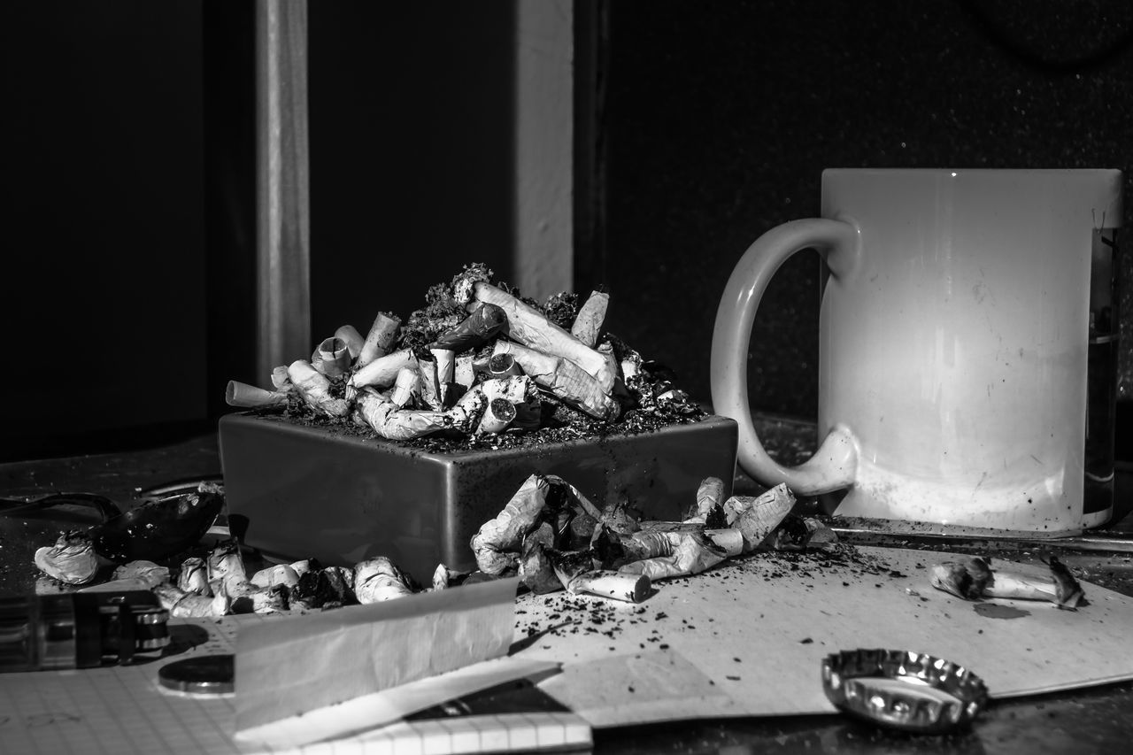 Ashtray  Beers Blackandwhite Photography Cigarettes Coffee Cup Drugs Indoors  Langzeitbelichtung Leipzig Lighter Smoking Still Life