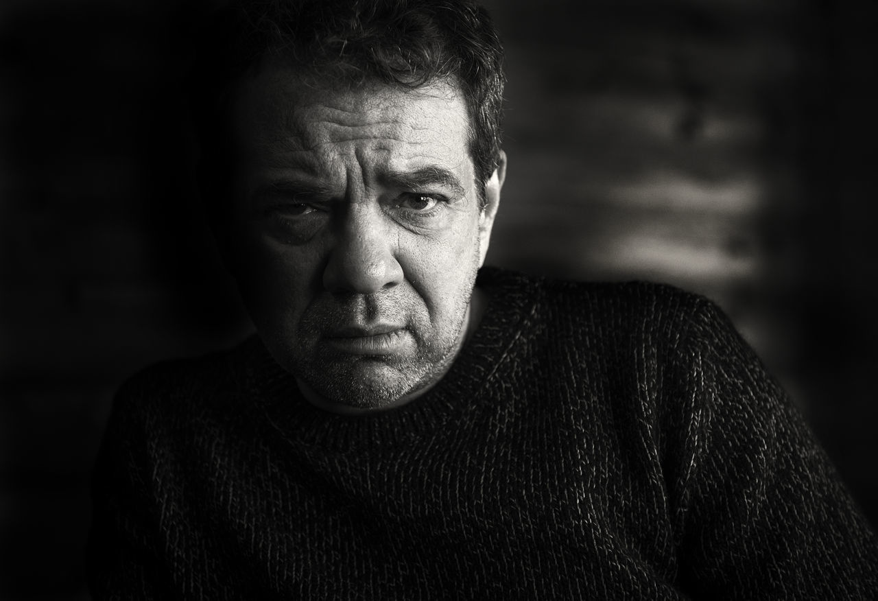 Sad man Adult Adults Only B&w B&W Portrait Close-up Day Headshot Looking At Camera Men One Man Only One Person Only Men Outdoors People Portrait Real People Sad Sad & Lonely Sad Face Sadness Senior Adult Serious Sweater