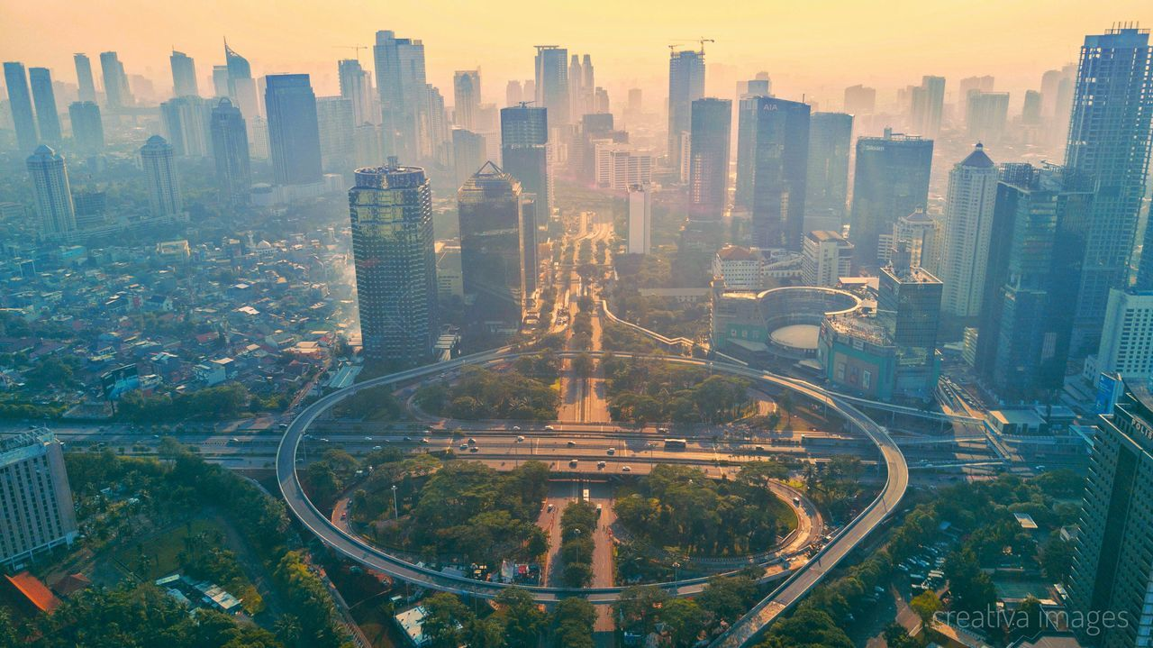 Jakarta City Skyscraper Urban Skyline Cityscape City Aerial View High Angle View Outdoors Architecture Downtown District No People Sky Day INDONESIA Dramatic Sky Aerial Dronephotography Sunrise Colors Aerial Photography Droneshot Cloud - Sky Cityscape Droneart City