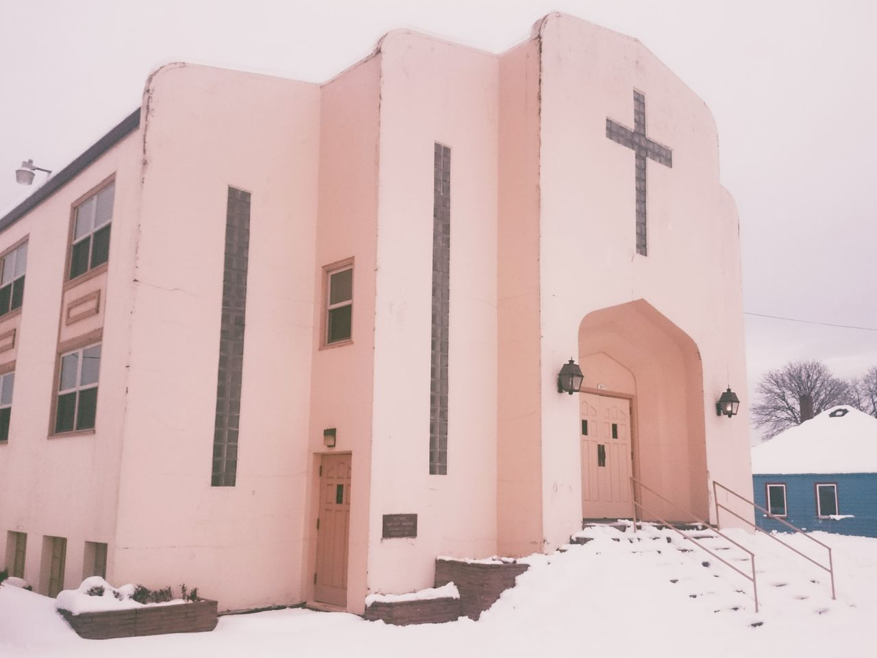 Pink Color Architecture No People North Portland Winter Snow Cold Temperature Portland Urban Landscape Snowing Portland, OR Art Deco Art Deco Architecture Soft Church