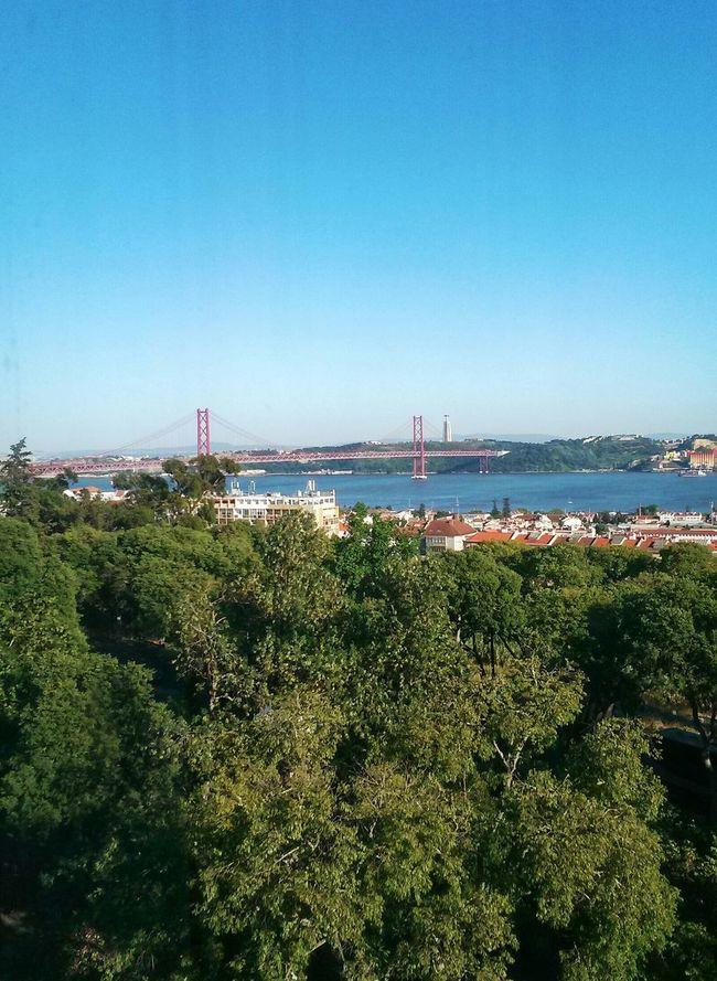 Portugal Lisbon Lisboa Ponte 25 De Abril River Tejo Sky Palácio Da Ajuda Ajuda