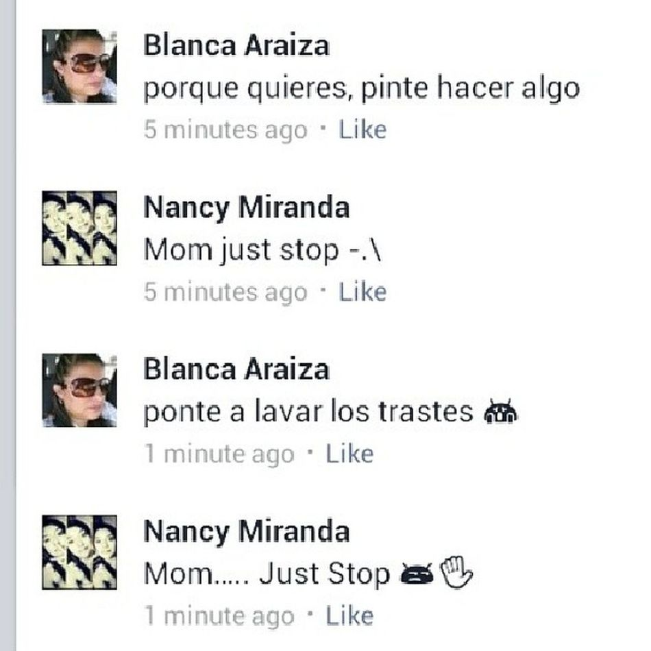 "So mom tried to be cool and commented on my status /_- I was like ""no mom -.-"" lol Hilarious WANNABECOOL Loveher Mommoments"