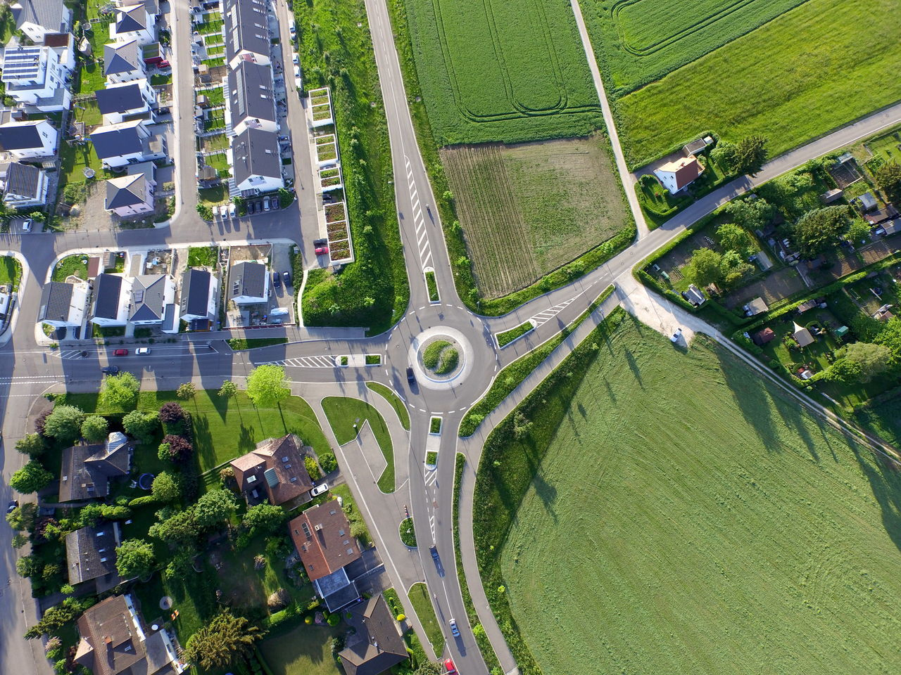 Aerial View Car Dji Grass Green Green Color Inspire Outdoors Perspective Road Roofs Roundabout Street Photography Tilt