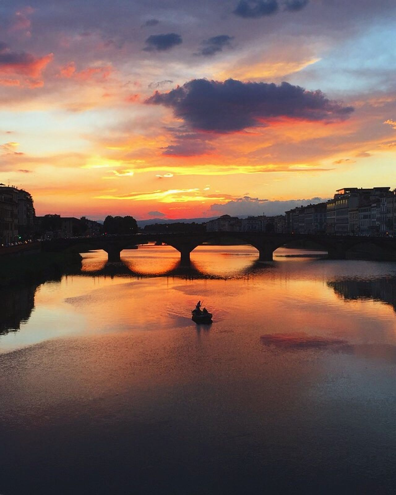 Water Reflection Sunset Sky Cloud - Sky River Nature Waterfront Beauty In Nature Scenics Tranquility Silhouette Italy Architecture Florence Day Beauty First Eyeem Photo