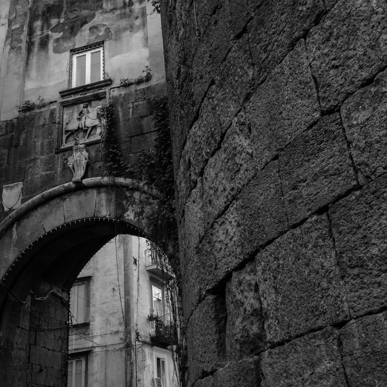 Old Town of Napoli, Campania, Italy Architecture Blackandwhite Brick Brick Wall Building Built Structure City Life Cityscape Cityscapes Decumani Gate Historic Landscape Naples Napoli No People Old Old Town Portal Sightseeing The Past Tourism Travel Destinations Traveling Window
