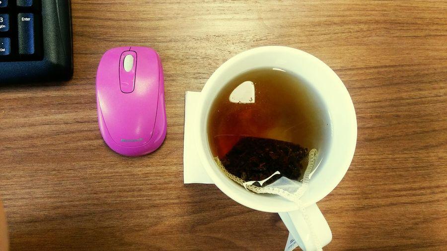 Teatime Working On A Break Tea Time Early Grey Tea Pink Computer Mouse Desks From Above DesksFromAbove Brown Mug