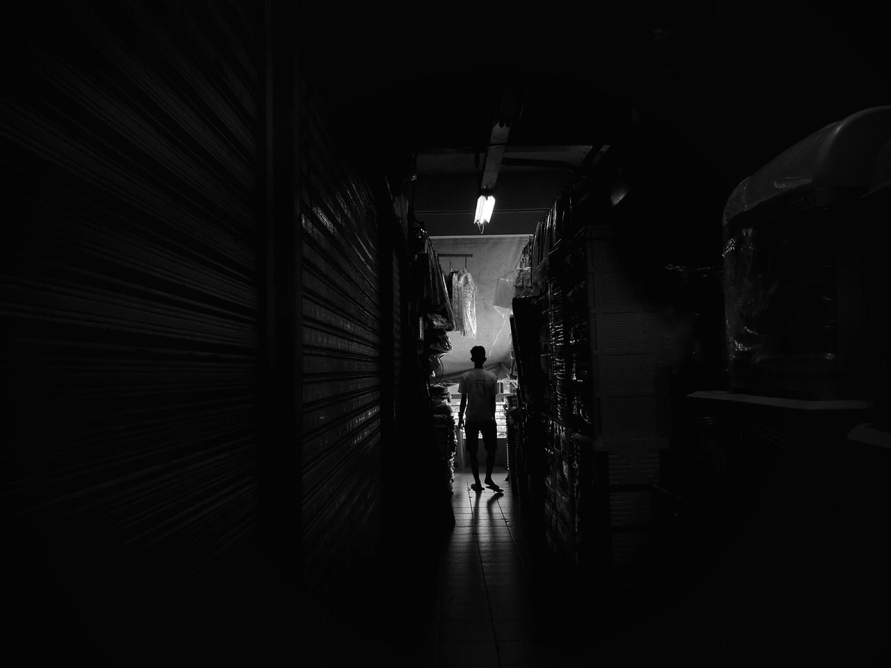 A dark alley inside a public market. Streetphotography Indoors  Huawei P9 Plus Smartphone Photography Monochrome Photography