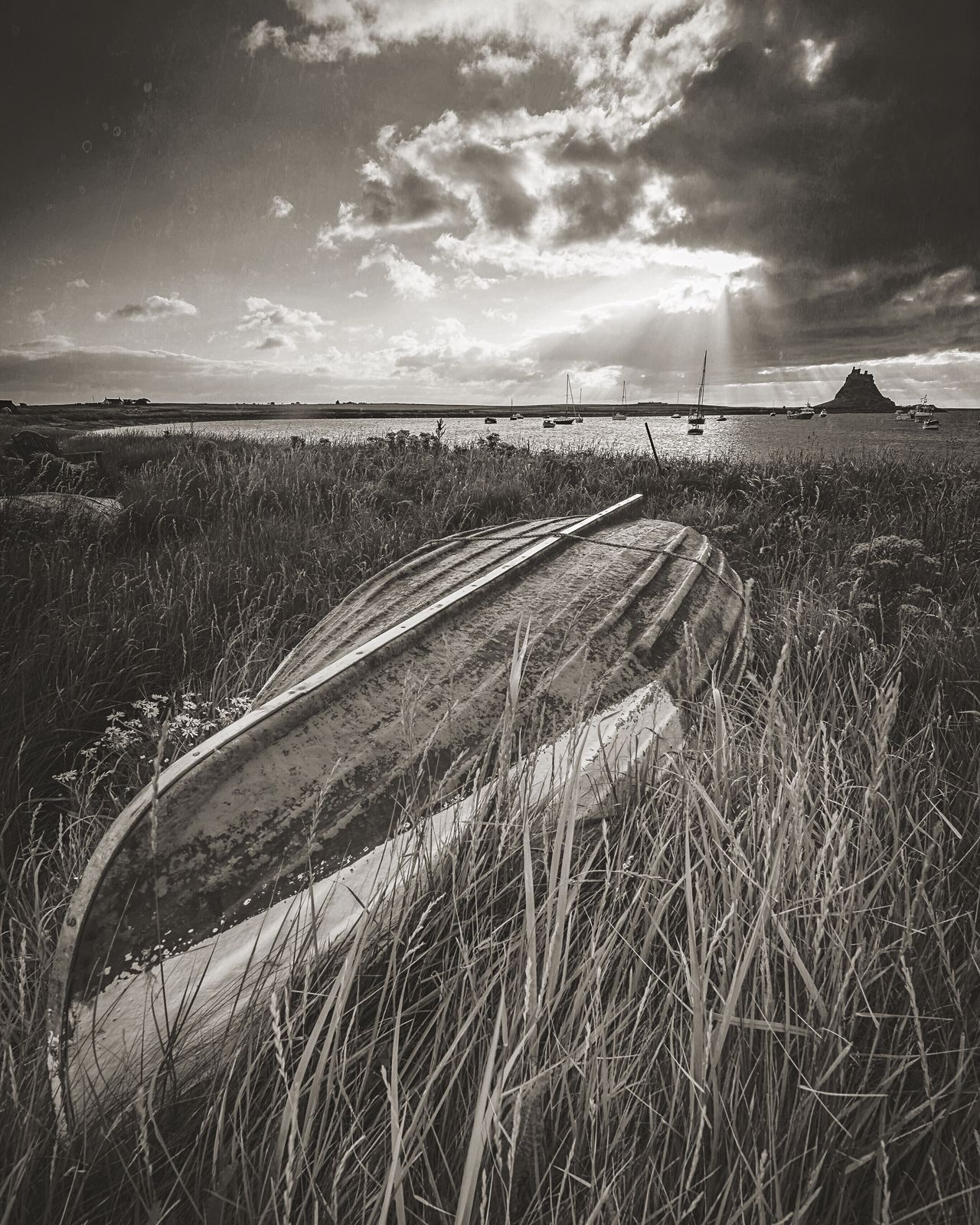 Muted Sunlight Field Rural Scene Agriculture Growth Crop  Nature Sky Scenics Tranquil Scene Tranquility Outdoors Landscape Beauty In Nature Cloud - Sky No People Day Grass Boat Monochrome Bw Photography Landscape_photography Northumberland Lindisfarne Seascape Sea And Sky