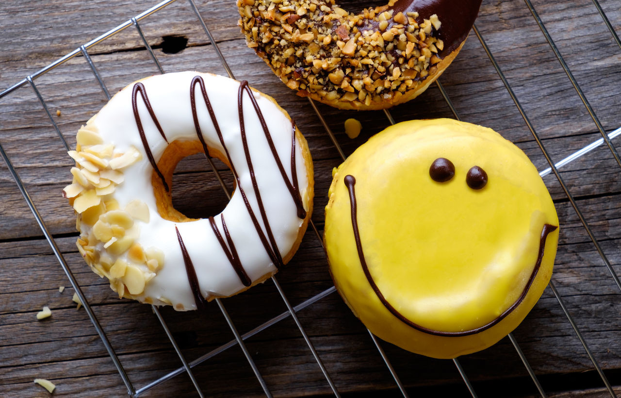Donuts Almond Breakfast Chocolate Closeup Closeup Photography Dark Photography Desserts Donuts Food And Drink Freshness Nut Shape Smiley Face Sugar Sweet Food Wooden Table