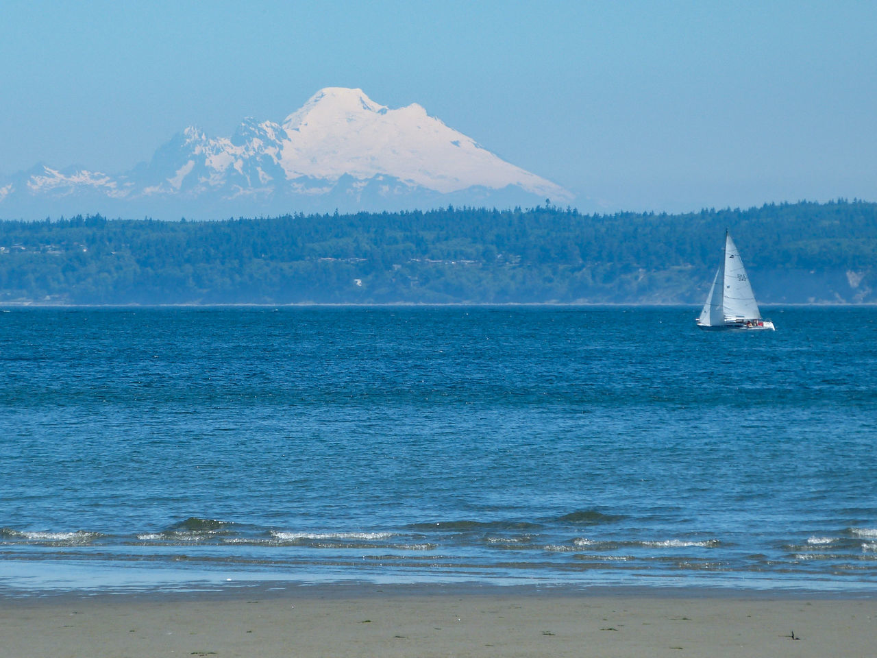 Beauty In Nature Blue Boat Horizon Over Water Idyllic Mountain Mt. Baker Nature Puget Sound Remote Sailboat Sailing Scenics Sea Shore Sky Water
