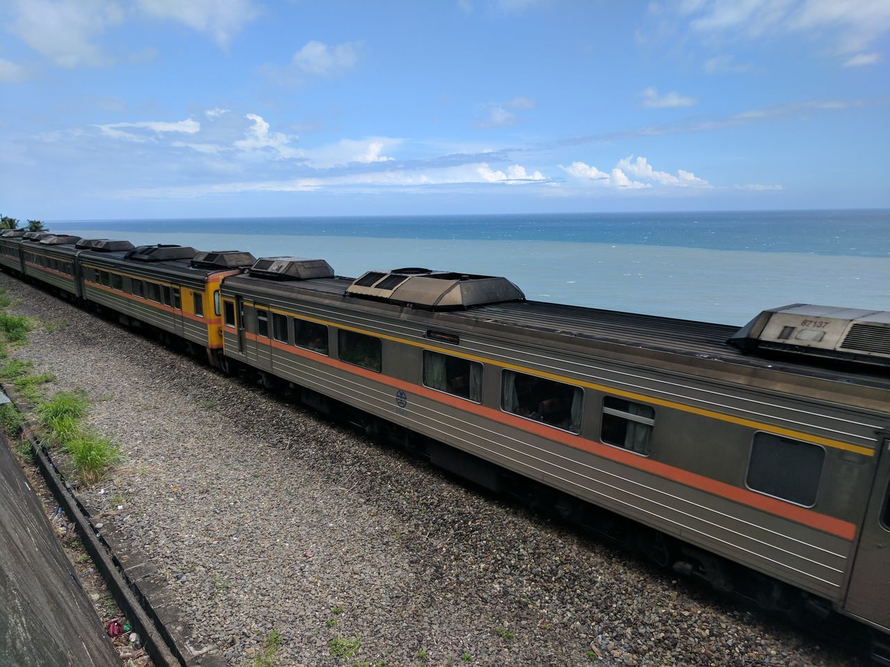 Architecture Built Structure Day Horizon Over Water No People Outdoors Pacific Ocean Sea Sea And Sky Sky Sunny Taitung Taiwan Train Train And Sea