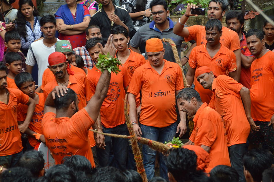 dahi mumbai Action Shot  Culture And Tradition Dahi Handi Day Emotions Janmashtmi Orange Color Outdoors Person
