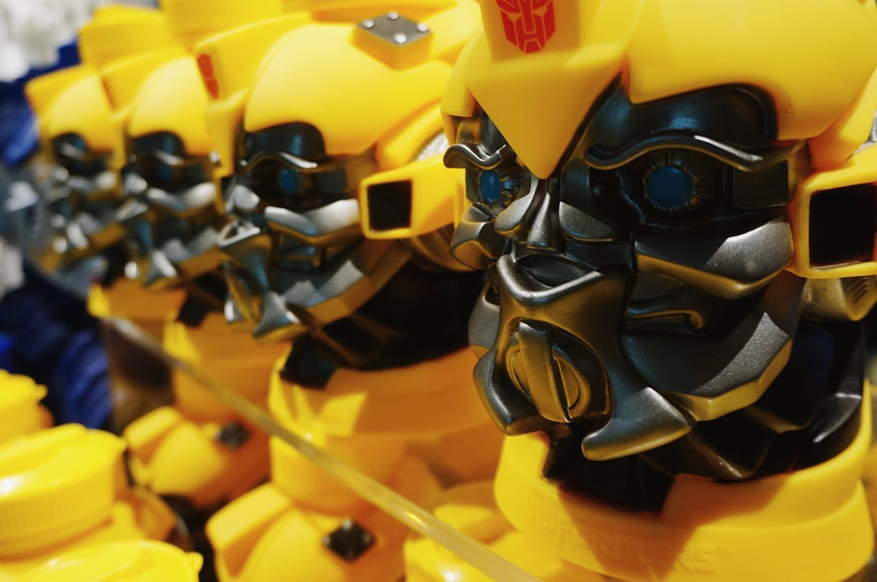 Yellow Close-up No People Robot Bumblebee Character HEAD Accesories Figurine  Mask Futuristic Toy Toys