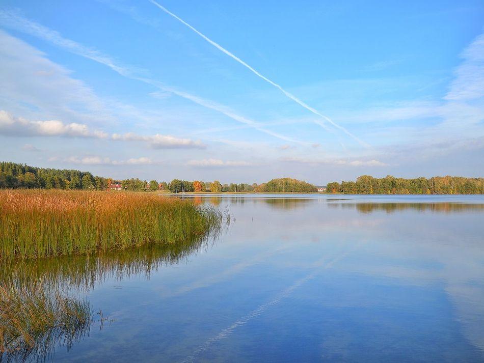 Reflection Sky Scenics Lake Nature Cloud - Sky No People Outdoors Beauty In Nature Blue Day Landscape Autumn Water Jezioro Wulpinskie Warmia Mazury Jesień Polska Poland Landscape Photography