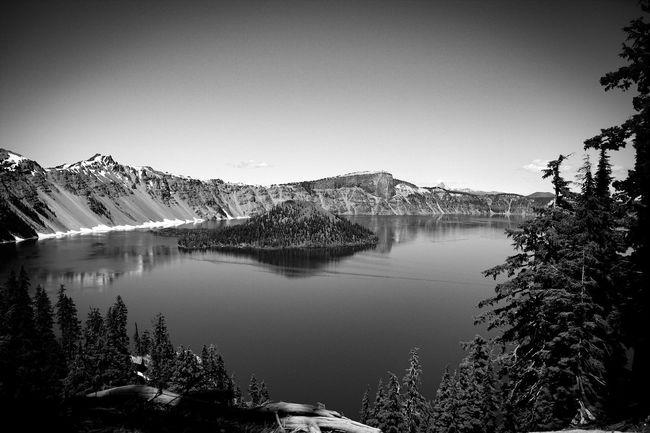 Monochrome Photography Beauty In Nature Crater Lake National Park Tranquil Scene Enjoying The View Eye4photography  Landscape #Nature #photography Landmark