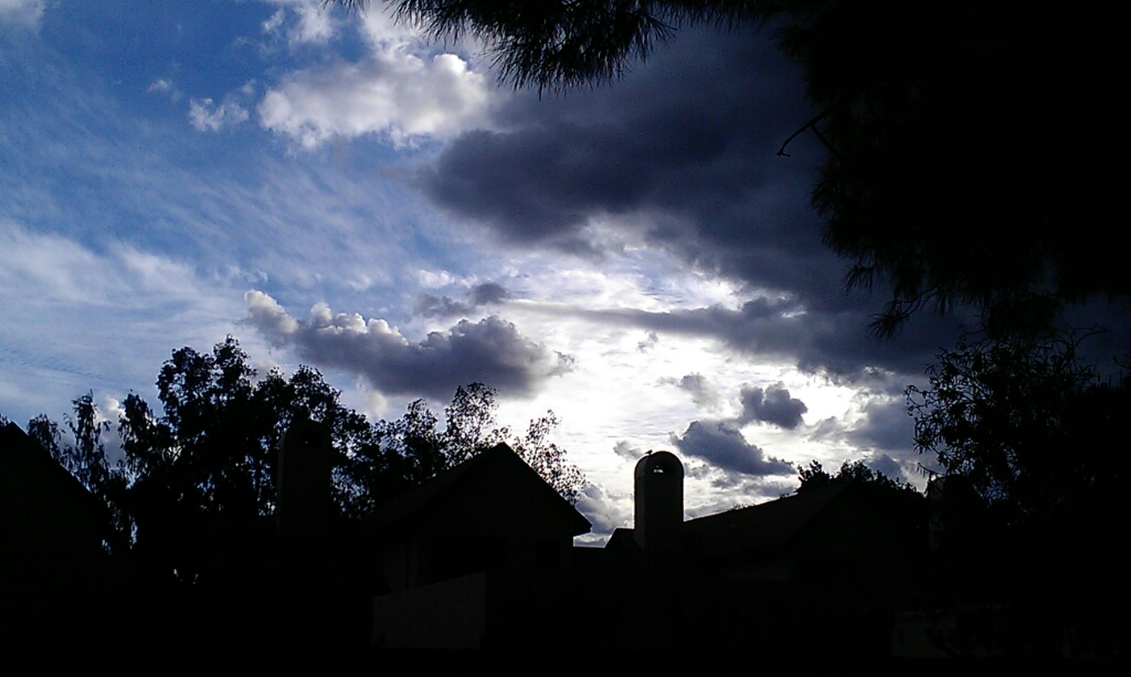silhouette, sky, tree, cloud - sky, low angle view, cloudy, cloud, dusk, nature, beauty in nature, tranquility, weather, overcast, scenics, built structure, tranquil scene, outdoors, storm cloud, growth, building exterior