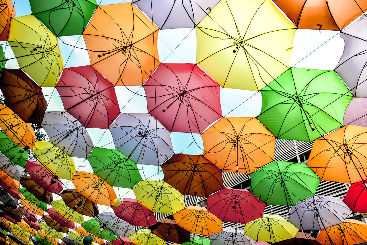 Canopy City Square Close-up Low Angle View Multi Colored No People Outdoors Umbrella Umbrellastreet Variation Colorful Vibrant Background Lookingup