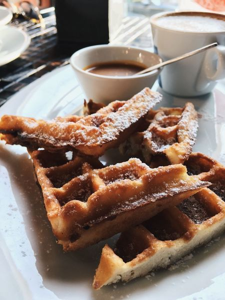 Waffles and cup of coffee Food And Drink Food Sweet Food Freshness Dessert Ready-to-eat Serving Size Still Life Baked No People Waffle Belgium Waffles Cup Of Coffee Vertical
