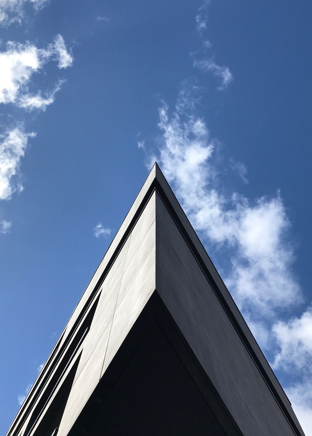 Low Angle View Architecture Sky Concrete Minimalism Symmetry Geometric Shape Triangle Grey Light And Shadow Nofilter Berlin Blue Blue Sky