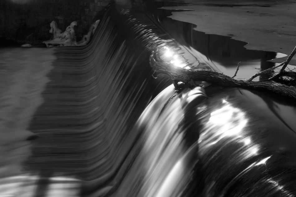 Cedar Creek Dam Beauty In Nature Black And White Dam Day Grey Long Exposure Motion Nature No People Outdoors Reflctions Reflection Tranquil Scene Water Waterfall