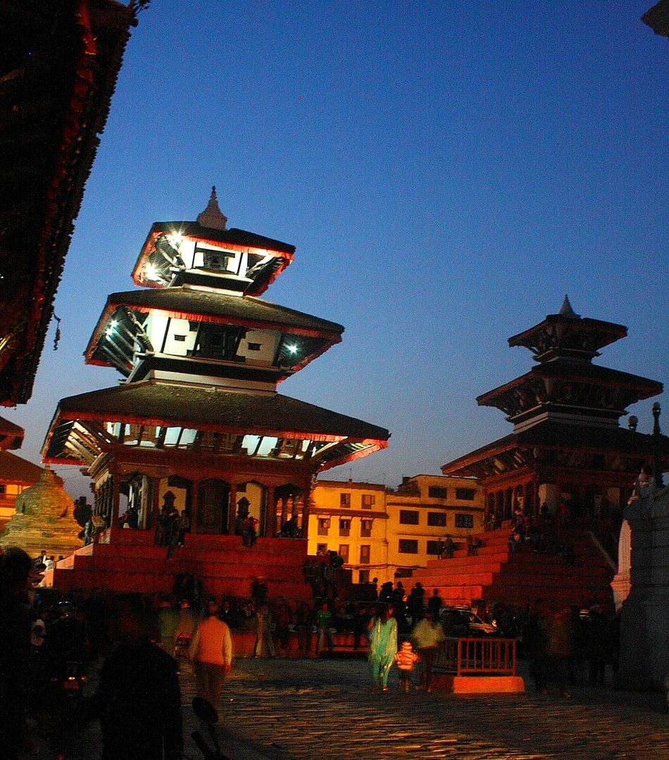 Evening view at Basantapur Durbar Square back in 2013 Architecture Basantapur Durbar Square Building Exterior Evening Light Famous Place History Low Angle View Place Of Worship Spirituality Cities At Night