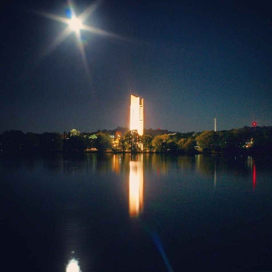 Full moon almost on top of the National Carillon :-)