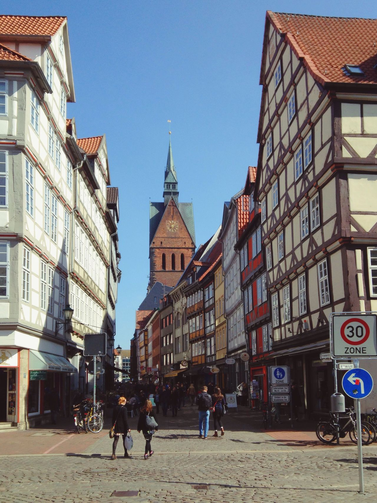 Hannover Altstadt Marktkirche Hanover Germany Historic Architecture Half-timbered Houses Pedestrian Street