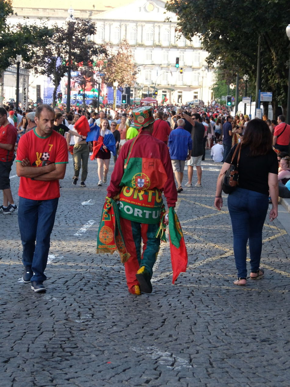 Casual Clothing City Street Clothing Crowd Euro 2016 Green & Red Large Group Of People Leisure Activity Lifestyles Porto Portugal People Together