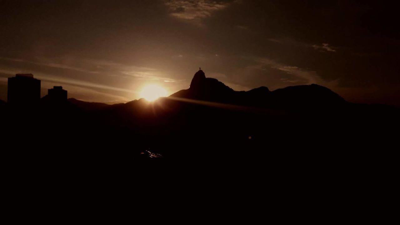 Sky Sunset Silhouette Rio De Janeiro Brazil Natural Beauty Corcovado Sun Mountain Mobilephotography The Great Outdoors - 2017 EyeEm Awards Neighborhood Map