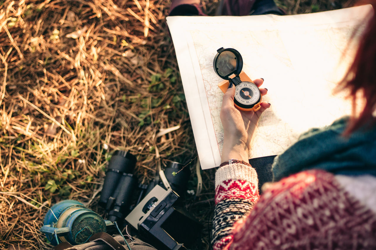 Traveler young woman searching direction with a compass on background of map in the forest adventure Autumn Backpacking compass Copy Space direction exploration female forest Freedom healthy lifestyle hiker Hiking hipster lifestyles Lost Map Nature navigation outdoors recreational pursuit Sunlight Tourist Travel woods Fresh on Market 2016
