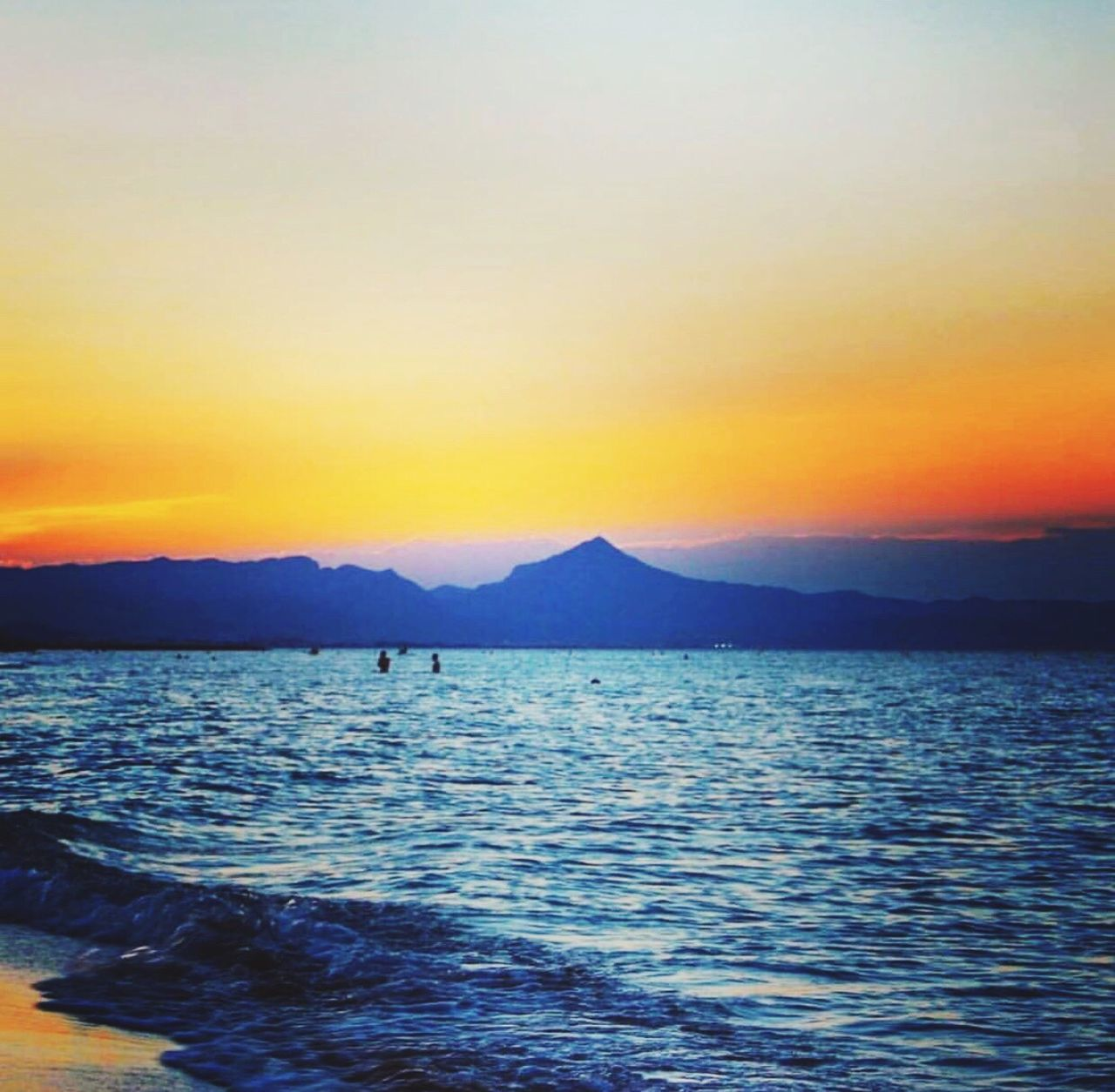 Sunset Beauty In Nature Sea Nature Water Tranquility Mountain Orange Color Denia Tourism