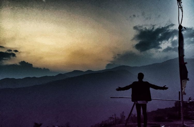 Sunset Dramatic Sky Night One Person People Landscape Standing Star - Space One Man Only Cloud - Sky Nature Only Men Sky Outdoors Scenics