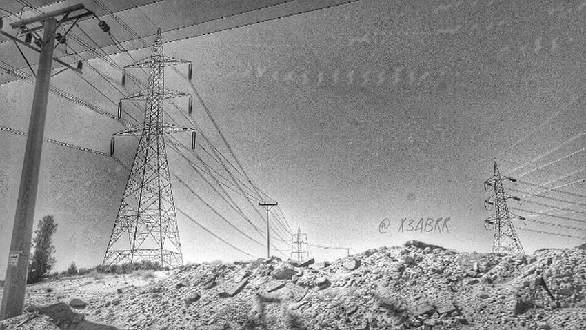 HDR Landscape Nature Bw Blackandwhite KSA Saudiarabia Saudiarabiatag ابيض_اسود الربيعية القصيم السعودية  تصويري  كهرب ضغط_عالي كيابل Electrify High Pressure Cable Interconnection شوف_السعودية صور_سياحية