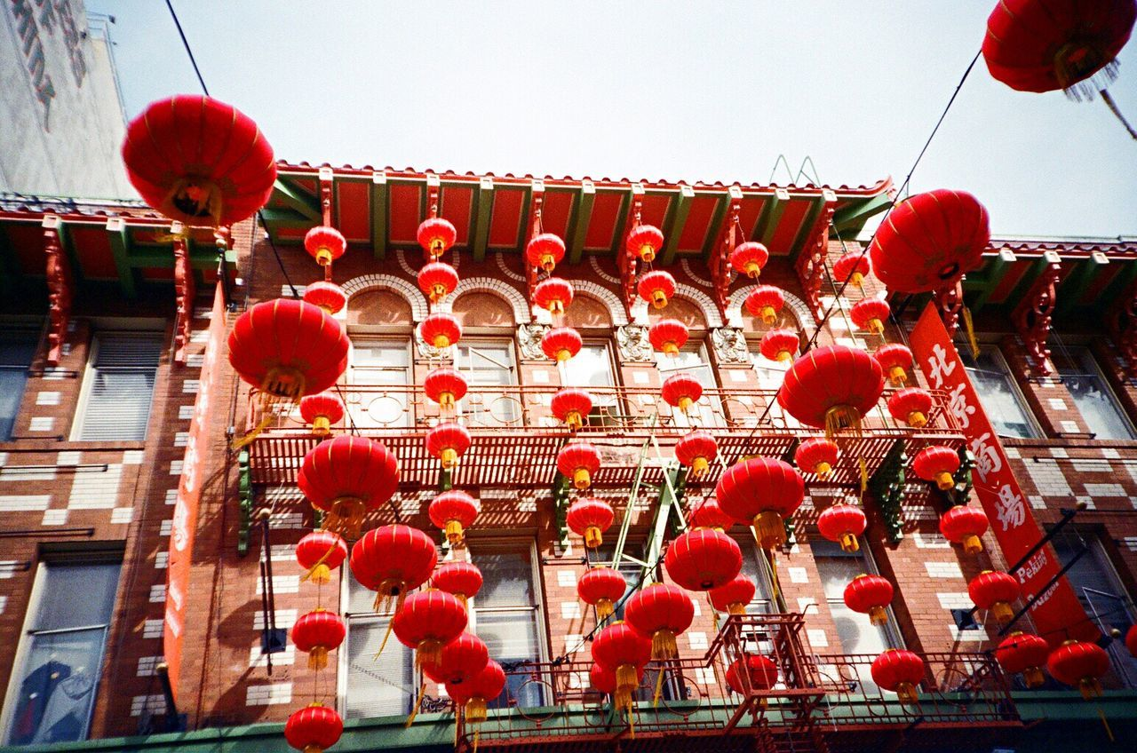 Chinese Lantern Cultures Hanging Decoration Low Angle View Repetition Architecture Paper Lantern Film Koduckgirl Leicacamera F2/400 Leica M6 Chinatown Lookingup