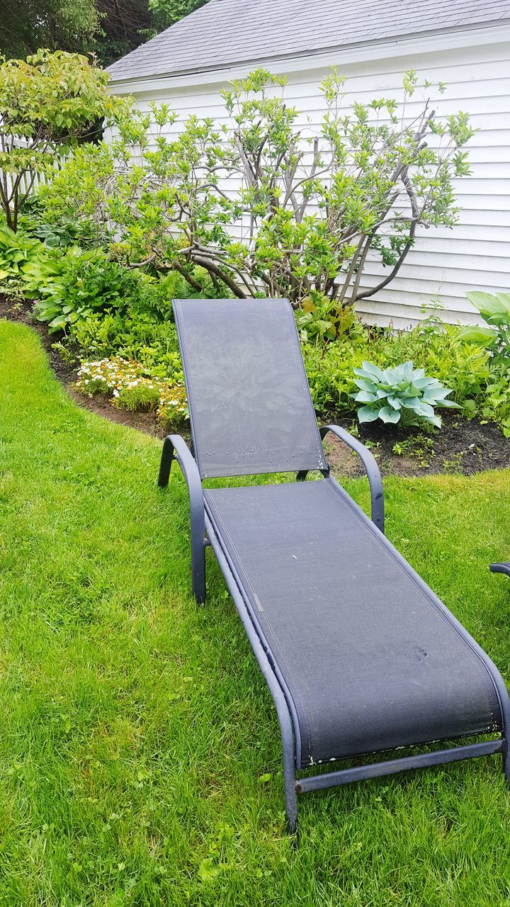 grass, growth, plant, table, green color, day, no people, front or back yard, nature, lawn, chair, outdoors, tree, seat, beauty in nature, architecture, greenhouse