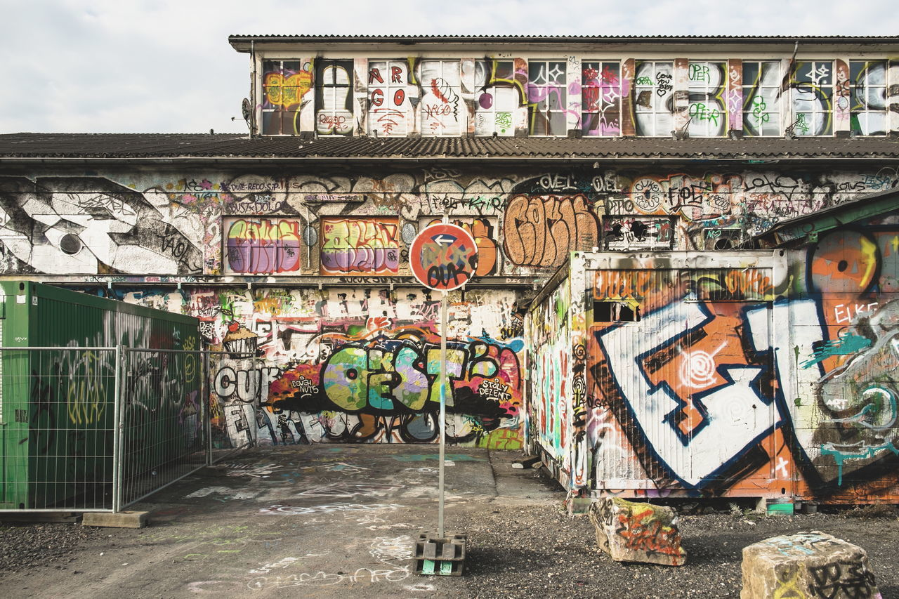 Mimikry Adapted To The City Alter Schlachthof Architecture Building Exterior Built Structure City Day Graffiti Mimikry Multi Colored No People Outdoors Sky Street Art Text