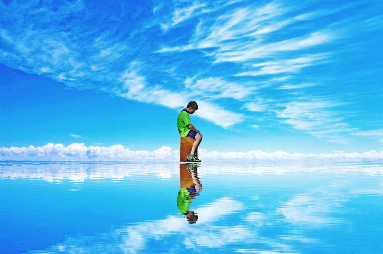 Boy Sea Photoshop One Person Water Kid Blue Outdoors Enjoying Life Rightside One Center Sky_collection Skyview Waves And Clouds Clouds Collection Scout Scouts Scouts Life