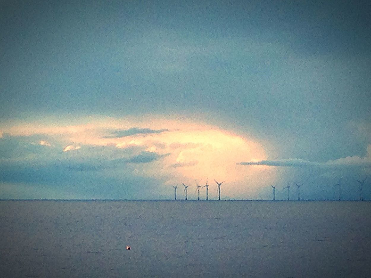 Cloud Burst Sun Ray Blue Winter Cold IPhone Photography Daytime Sky Beach No People, HerneBay Wind Farm Seascape