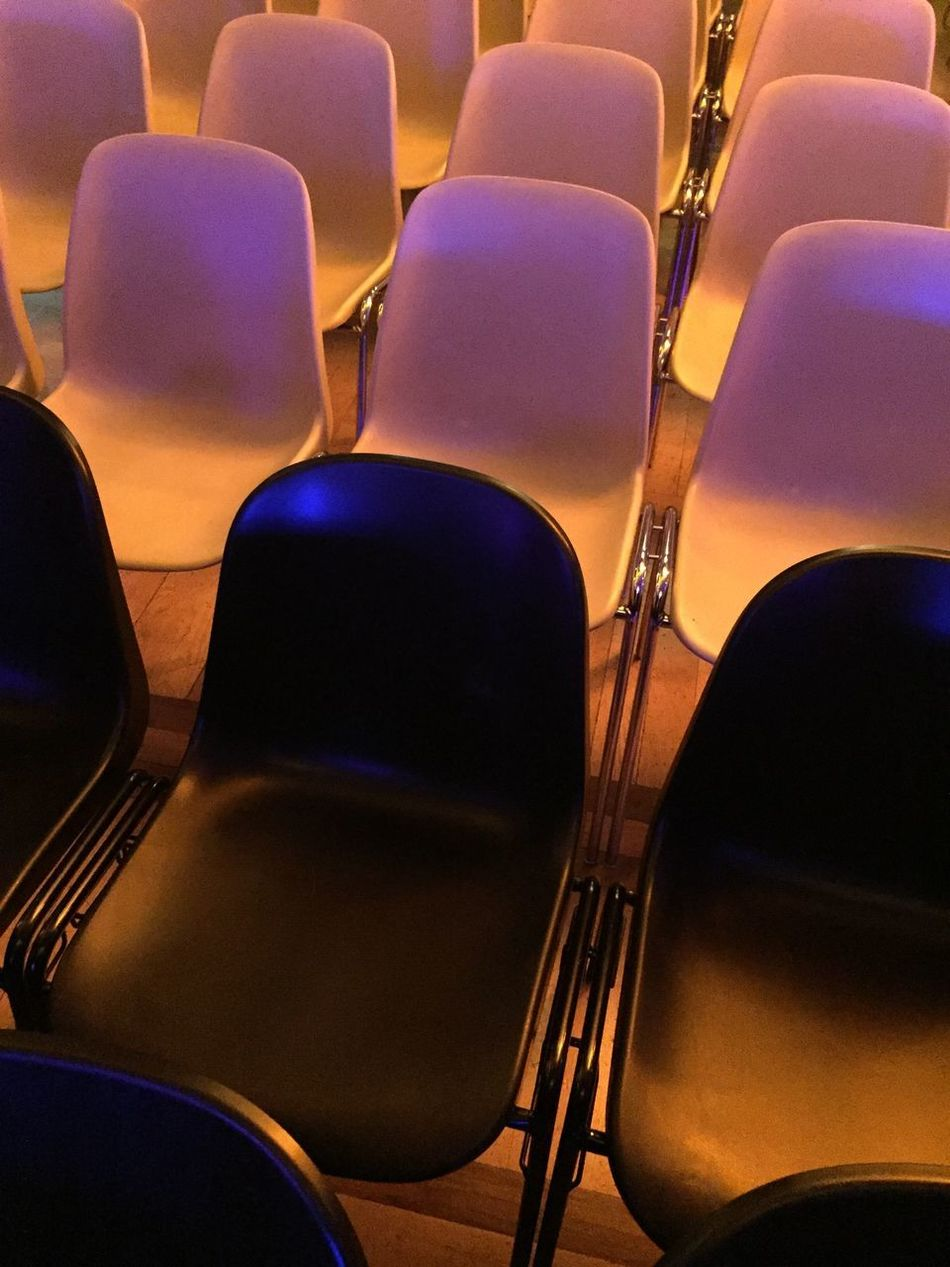 Chair In A Row Indoors  No People Seat Auditorium Empty Black And White Pattern