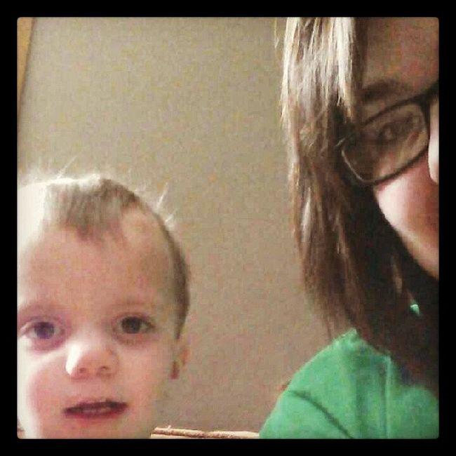 He's so cute :) BabyKarson Bfscousin Oneyearold CarsynandKarson babysitting yesterday