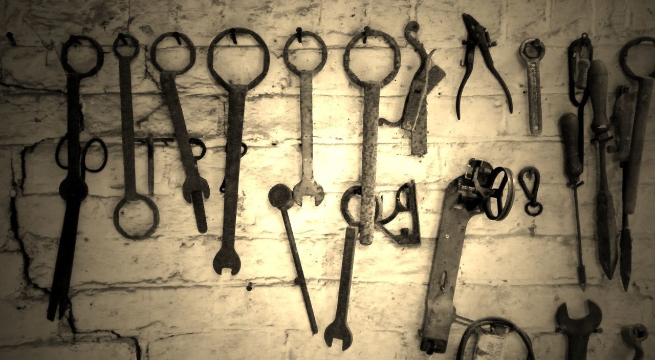 Craftsman's Workshop Day Indoors  No People Old Tools Tools Tools Of The Trade Tools On A White Wall Workshop